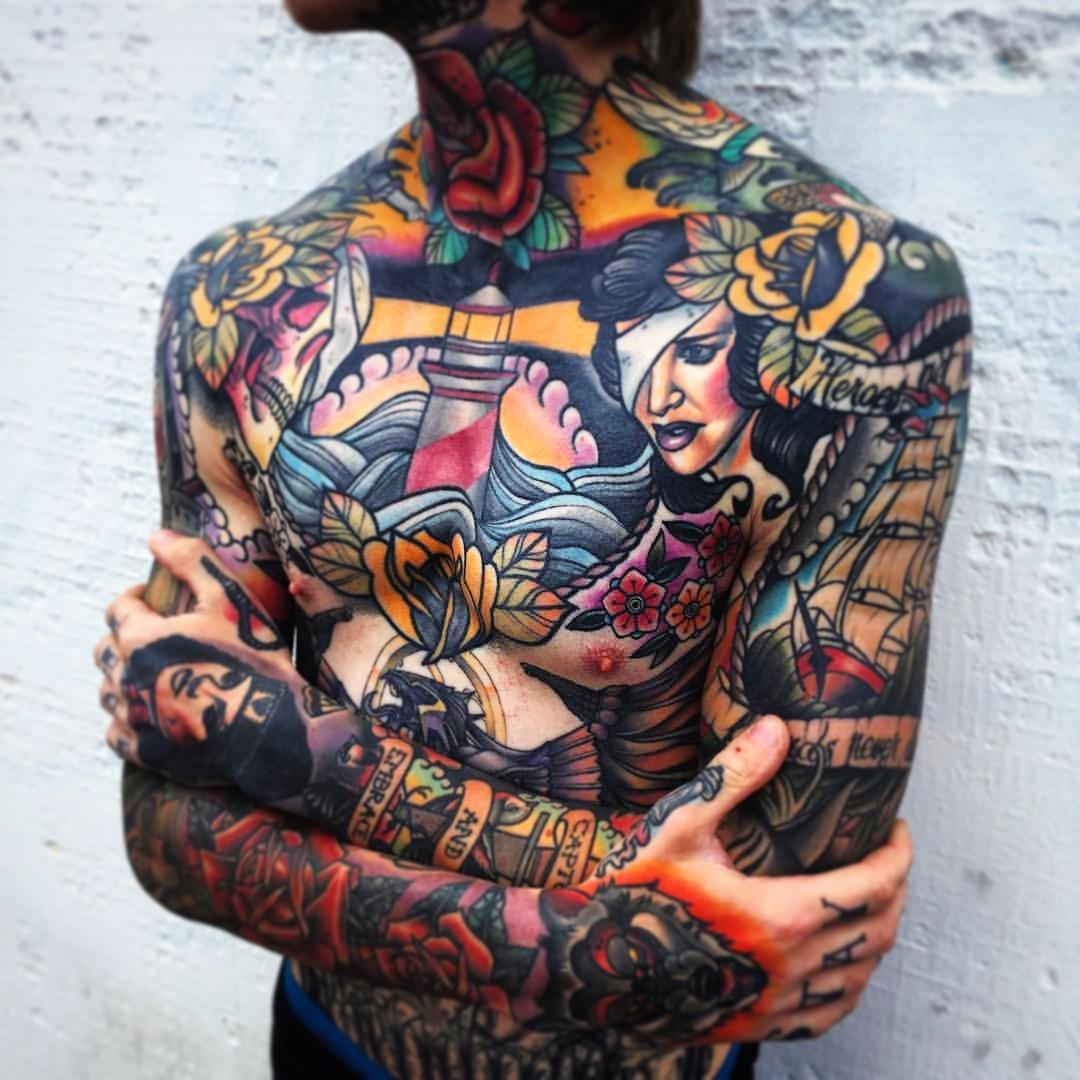 Whole Body Colorful 3d Tattoos