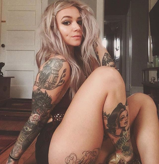 Blonde with tattoos